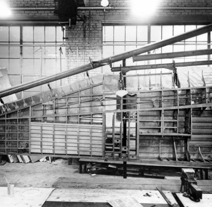 A P-47 wing in its fixture at the Evansville, Indiana Republic factory. Photo courtesy Harold Morgan