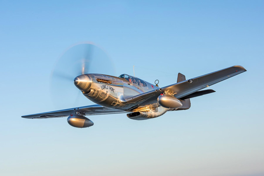 Warren flies Lope's Hope 3rd, one of Dakota Territory Air Museum's beautifully restored warbirds.