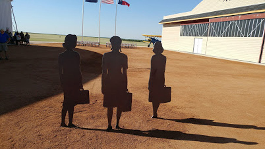 Silhouette memorial to the WASP at the national WASP Museum, Sweetwater, TX. AirCorps photo
