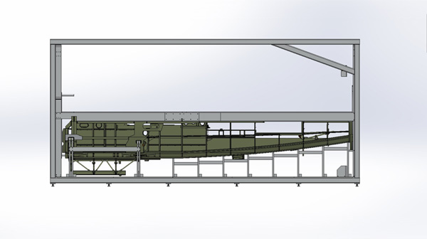 This rendering shows the lower fuselage mounted in the fixture.