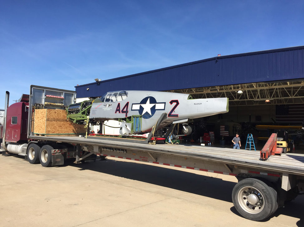 The fuselage and wings were loaded on separate trucks for the 1,167 mile trip to Bemidji.