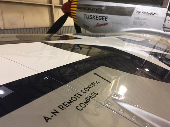 The North American markings show up on virtually every surface of a P-51 and are called out on the original factory drawings.