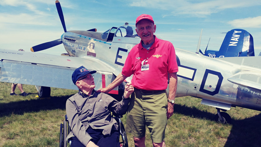 Kermit Bjorlie Meets Lyle Bradley, two WWII vet fighter pilots!