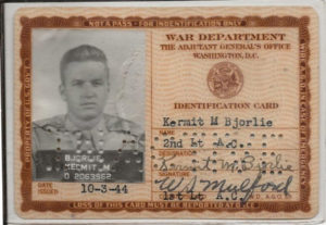 Kermit Bjorlie's official identification Card