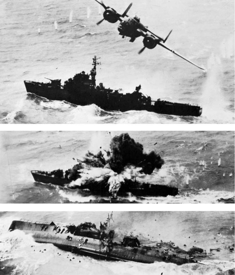 "Photo series of one of Pappy Gunn's ""commerce destroyer B-25s sinking a Japanese escort destroyer. USAAF photo"