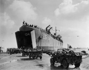 Evansville LST at the beach on D-Day