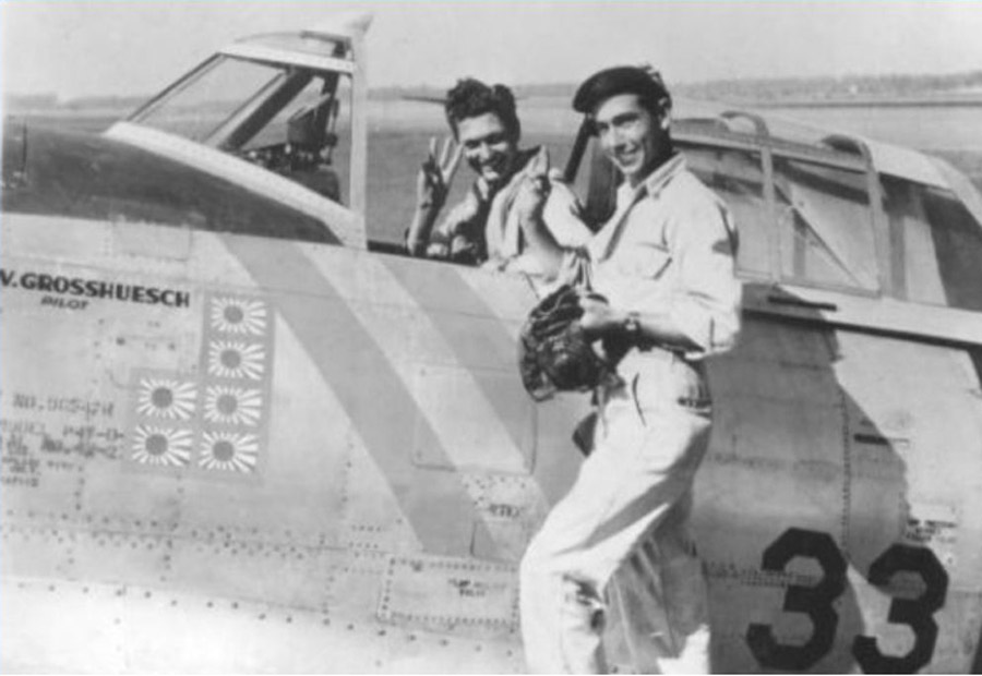 Captain Leroy Grossheusch in his P-47D-23RA