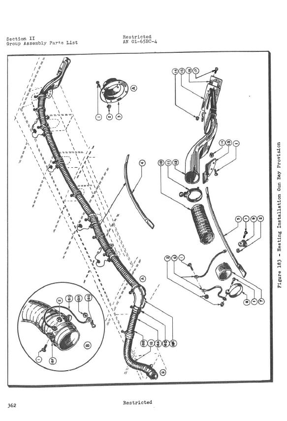 Gun Heat assembly diagram, P-47 Part catalog, page 351