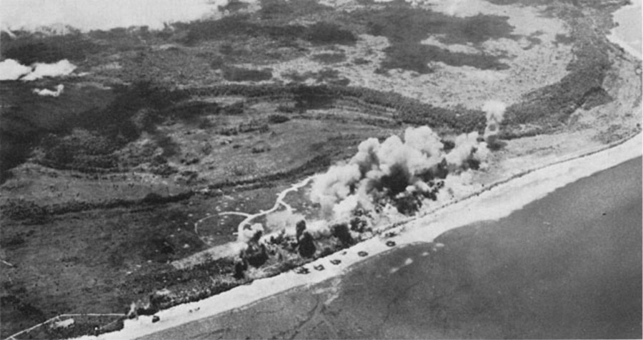 Biak under heavy air attack, 1944, photo Wikipedia.org