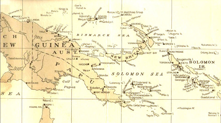 Map of WWII airfields in Papua New Guinea