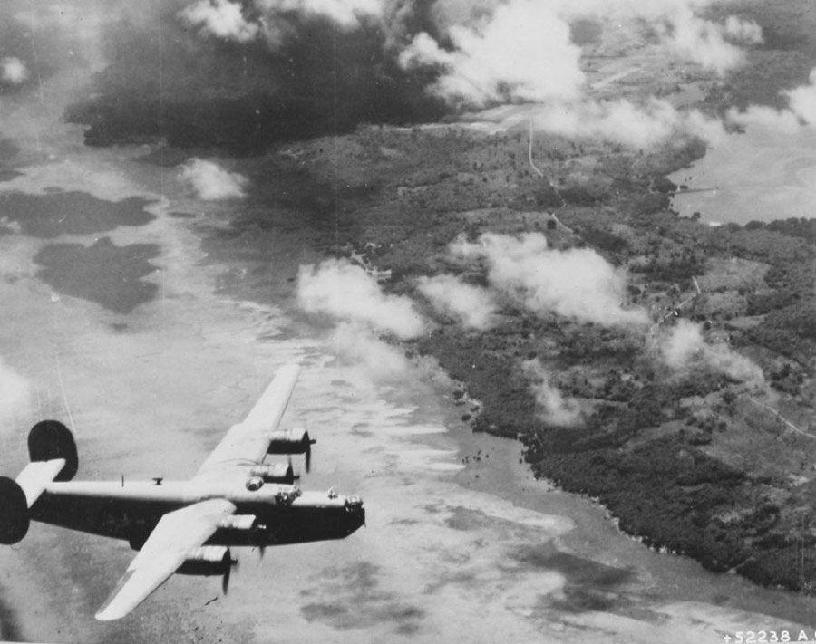 B-24 over Yap Island, USAAF photo