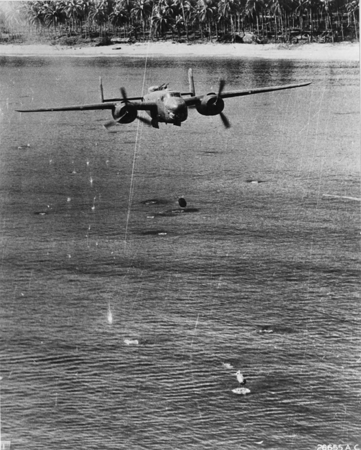 B-25 skip bombing, photo National Archives