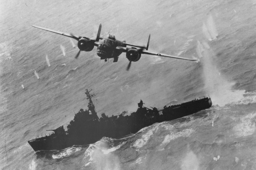 US B-25J of 499th 'Bats Outta Hell' Bomb Squadron attacking Japanese Type-C Escort Vessel, photo National Archives