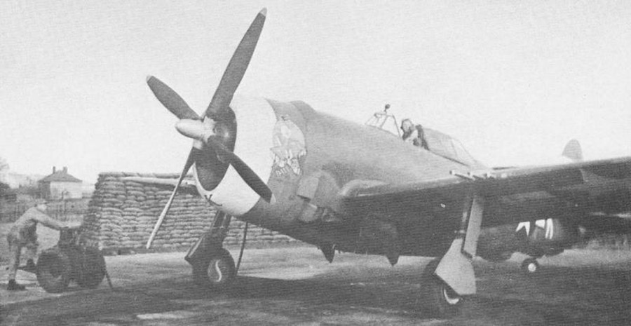 A P-47D-1 with the narrow blade propeller used before the D-22 and D-23 versions. USAAF Photo.