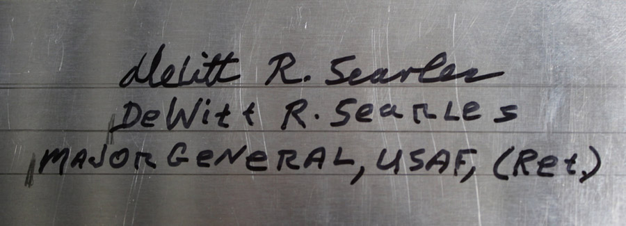 WWII Southwest Pacific P-47 pilot, Major General Searles' signature on the main access door of P-47 42-27609.