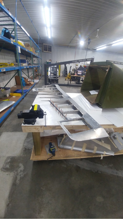 The rudder framework is nearly complete.