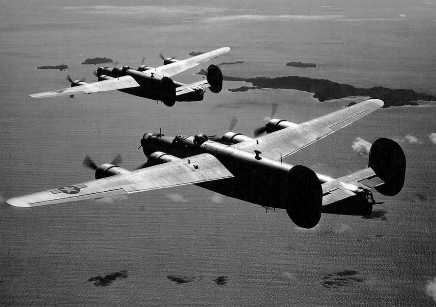 B-24s enroute to a SW Pacific target. USAAF photo