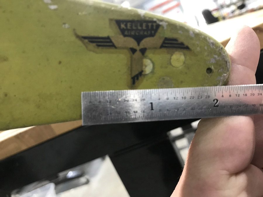 Here is another photo of the Kellett Aircraft logo with a ruler for size comparison.