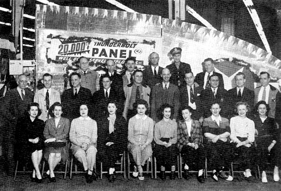 Corporate photo to celebrate the 20,000 P-47 wing panel made by subcontractor Servel Corporation. Photo courtesy of Harold B. Morgan Collection