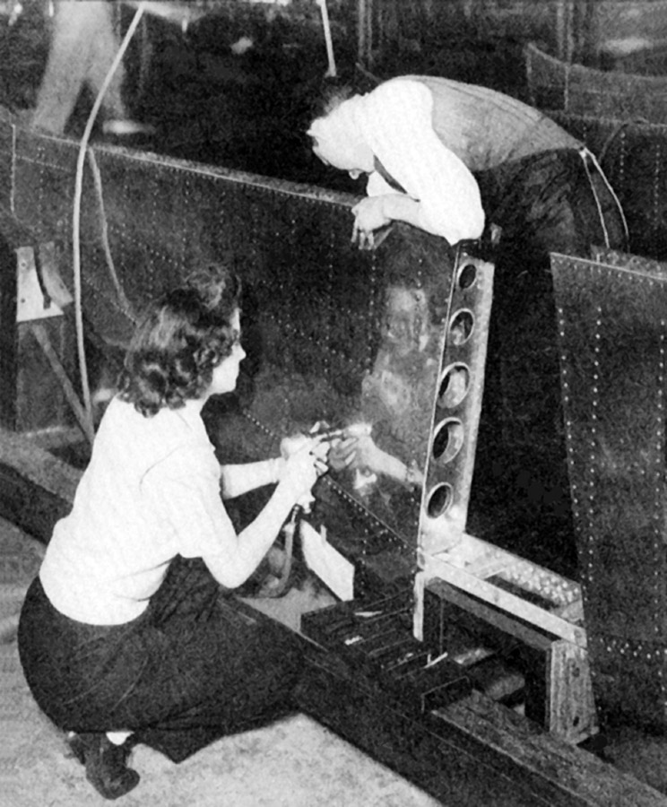 Workers near completion of a P-47 horizontal stabilizer at the Hoosier Cardinal factory. Photo courtesy of Harold B. Morgan Collection