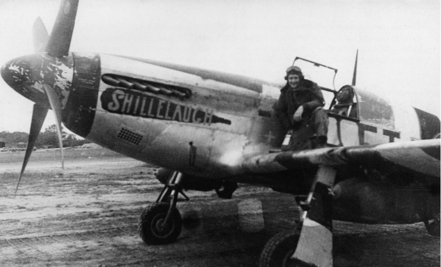 Ken Dahlberg on the wing of Shillelaugh in the earlier nose art scheme and spelling