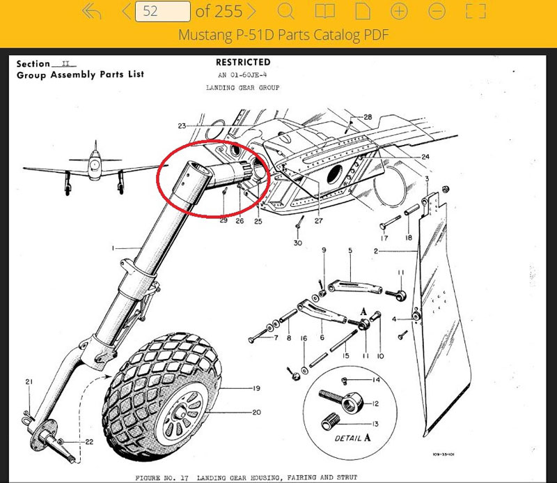 Digital drawing of NAA pivot shaft on AirCorps Library