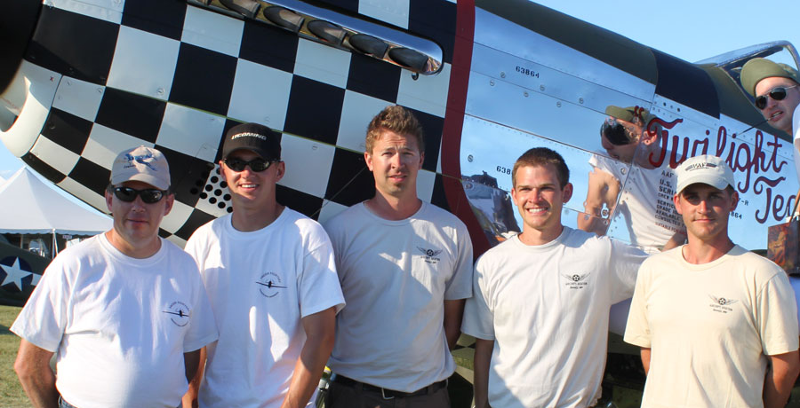 EAA Airventure, Oshkosh, 2011 (left to right) Mark Tisler, Chad Hokuf, Erik Hokuf, Eric Trueblood, Dan Matejcek, (painting Twilight Tear is Stefan Hokuf)