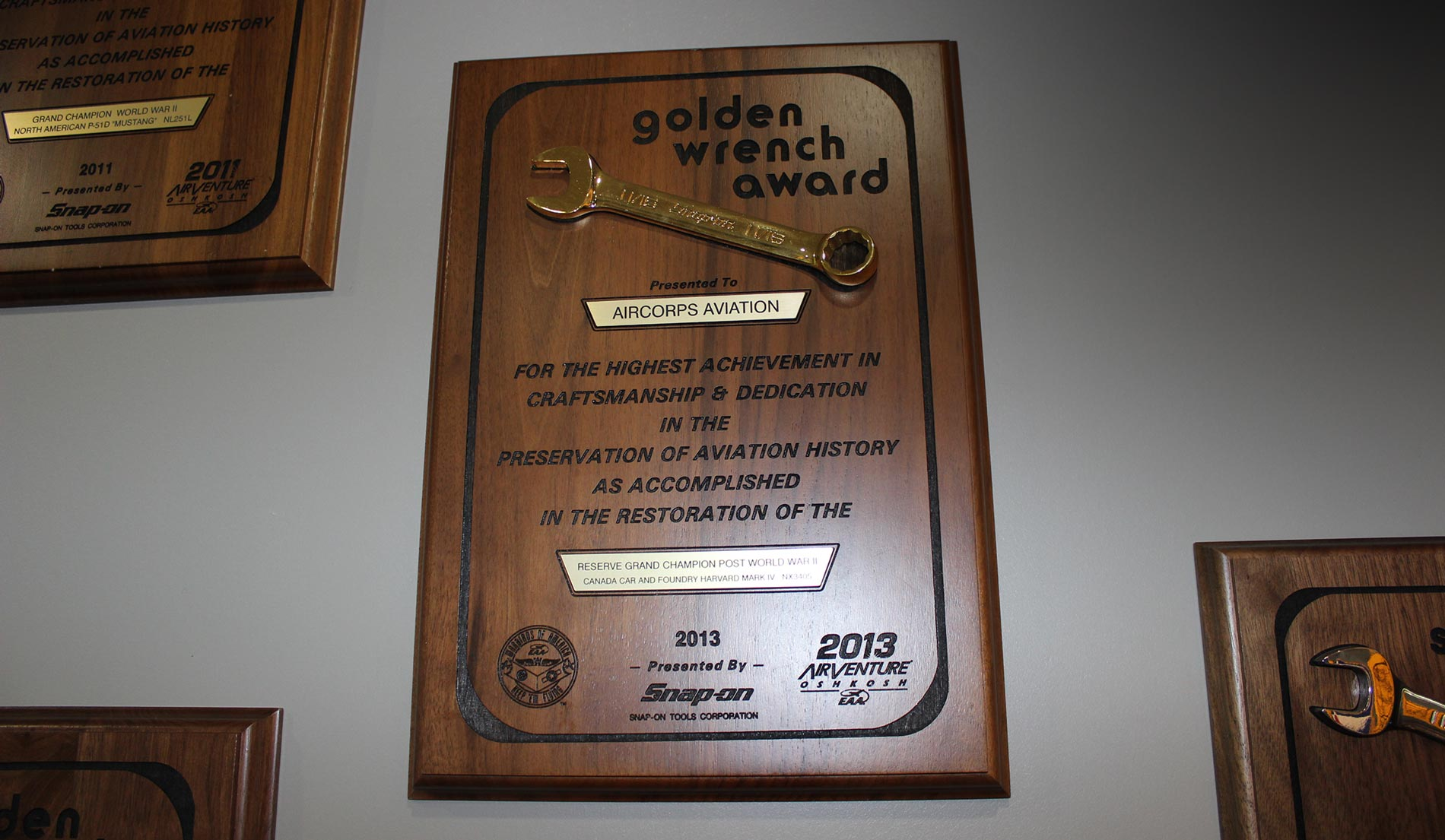 award wall golden wrench