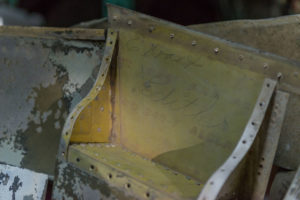 Grease pencil signatures inside the wing (photo: AirCorps Aviation)