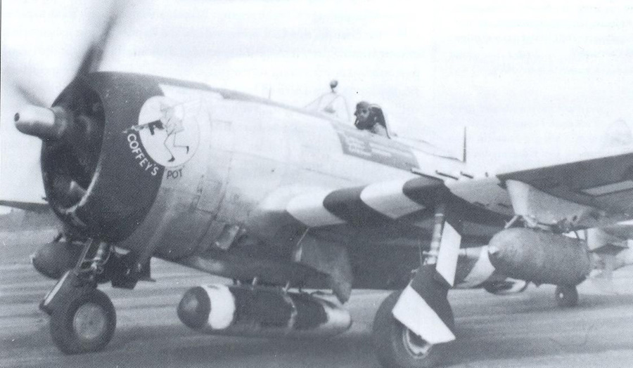 This photo shows the British-designed paper 108 gallon drop tank on the centerline and 1000 pound bombs on the wings. The B-10 shackles for the bombs are mounted in the wing pylons. USAAF photo
