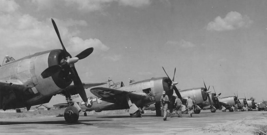 These are Pacific theater P-47 D-23s with the Curtiss Electric asymmetrical paddle blade props. USAAF photo