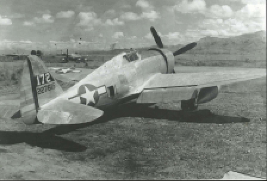 42-27615 is a P-47D-23 that was on the same carrier as our restoration P-47. It appears to have the Curtiss Electric symmetrical blade prop. USAAF photo