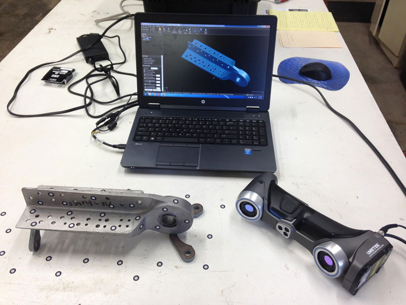 The basic ingredients for portable 3D laser scanning: Laptop with software for capturing the scan data, a portable 3D scanner and finally the targeted subject for scanning.